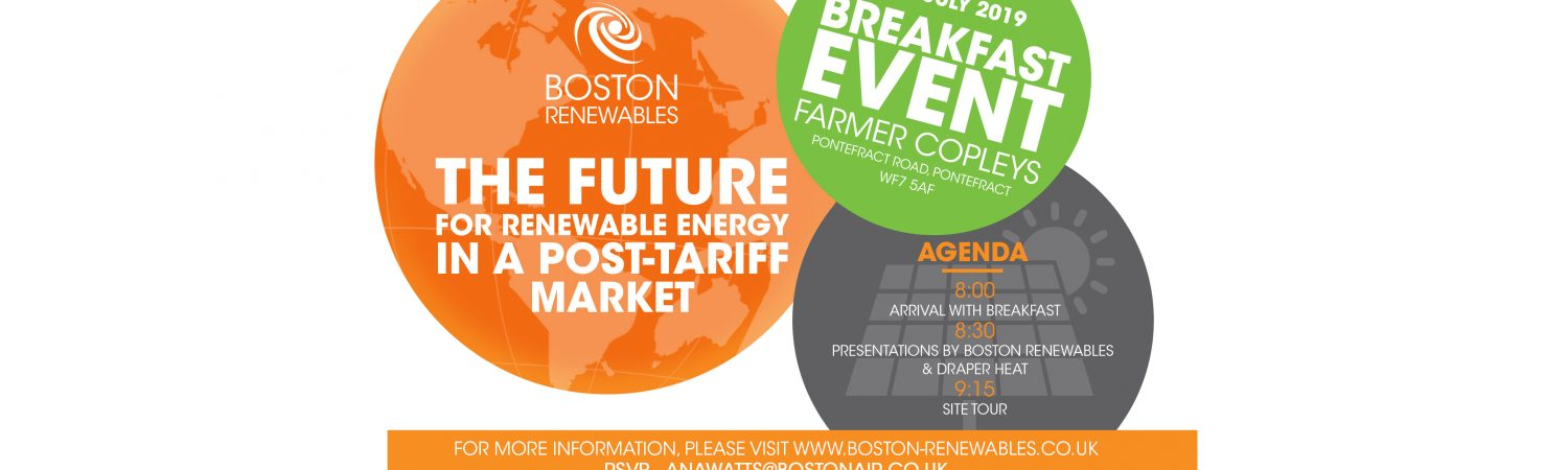 Boston Renewables are holding a FREE breakfast event at Farmer Copleys, Pontefract Road, Pontefract, WF7…